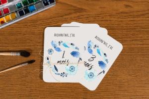 Lot de 12 cartes étapes bébé - fleurs bleues